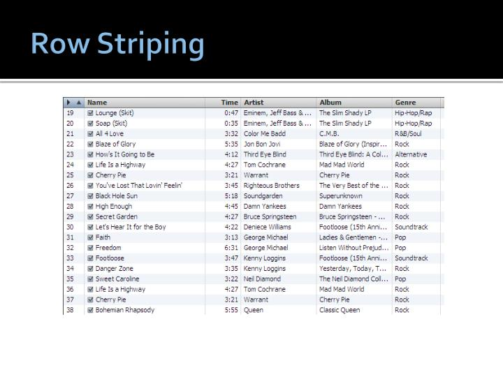 Row Striping
