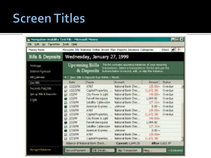 Screen Titles