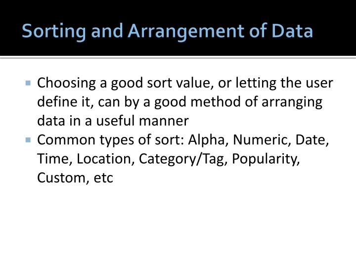 Sorting and Arrangement of Data