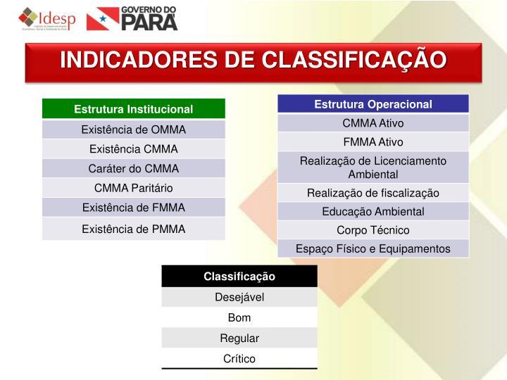 INDICADORES DE CLASSIFICAÇÃO