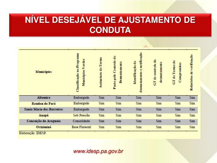 NÍVEL DESEJÁVEL DE AJUSTAMENTO DE CONDUTA