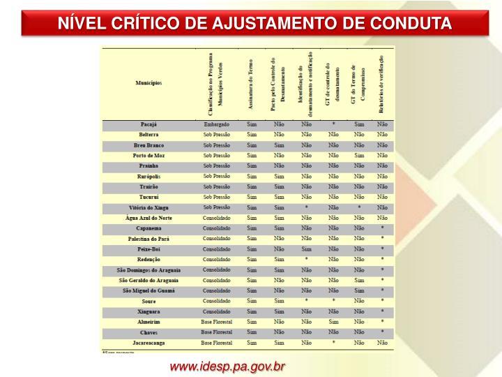 NÍVEL CRÍTICO DE AJUSTAMENTO DE CONDUTA