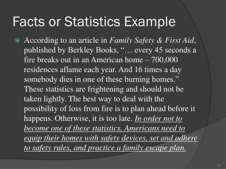 Facts or Statistics Example