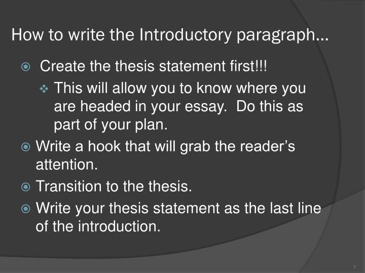 How to write the Introductory paragraph…