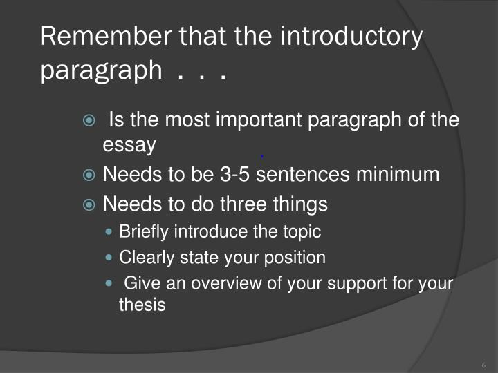 Remember that the introductory paragraph  .  .  .