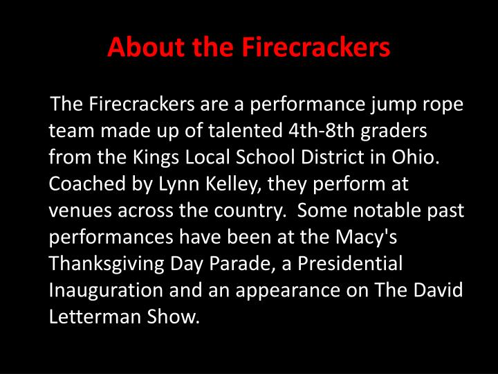 About the firecrackers