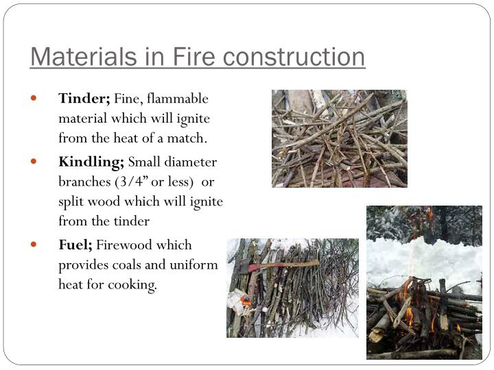 Materials in Fire construction