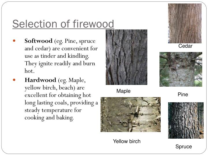 Selection of firewood