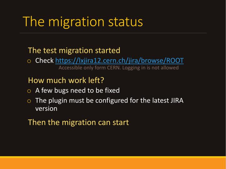 The migration status