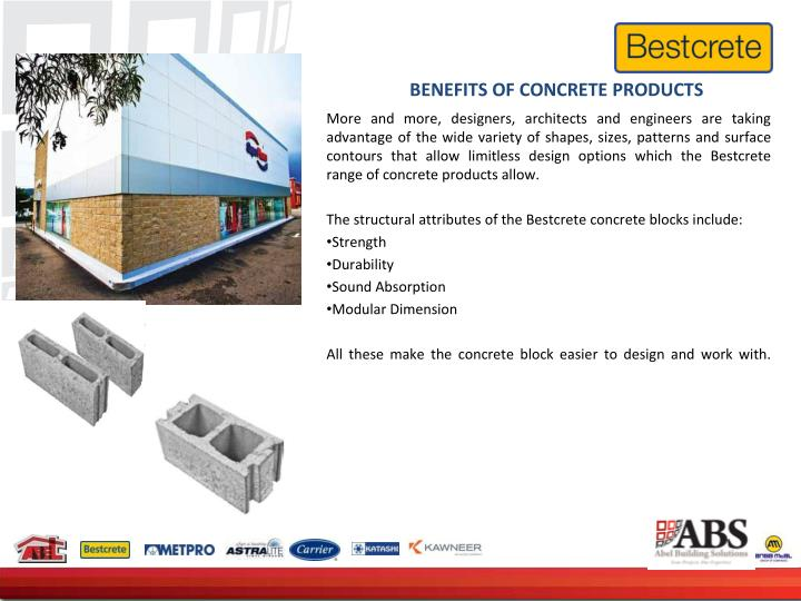 BENEFITS OF CONCRETE PRODUCTS