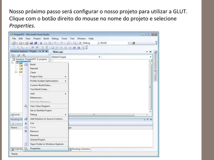 Nosso próximo passo será configurar o nosso projeto para utilizar a GLUT. Clique com o botão direito do mouse no nome do projeto e selecione