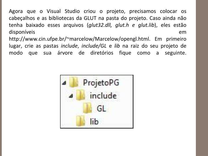 Agora que o Visual Studio criou o projeto, precisamos colocar os cabeçalhos e as bibliotecas da GLUT na pasta do projeto. Caso ainda não tenha baixado esses arquivos (