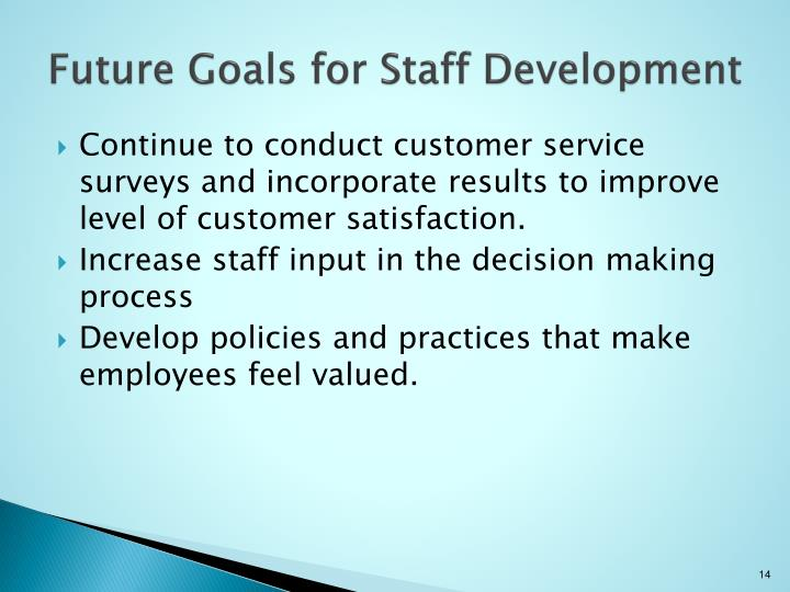 Future Goals for Staff Development