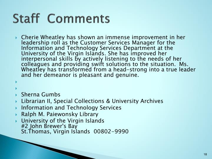 Staff  Comments