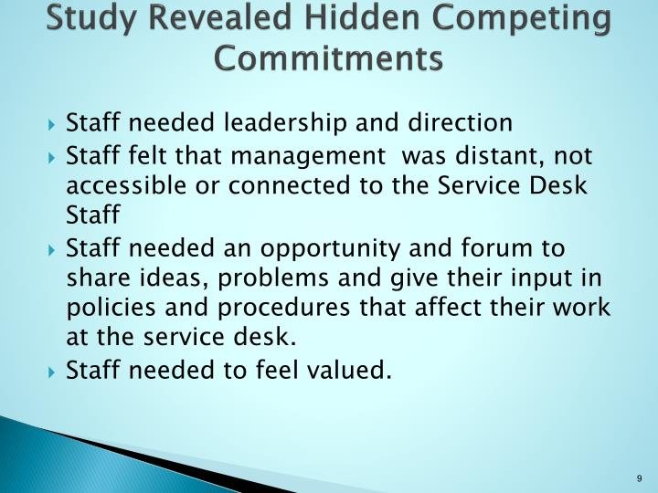 Study Revealed Hidden Competing Commitments