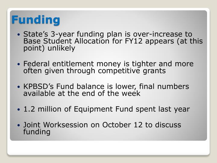 State's 3-year funding plan is over-increase to Base Student Allocation for FY12 appears (at this point) unlikely
