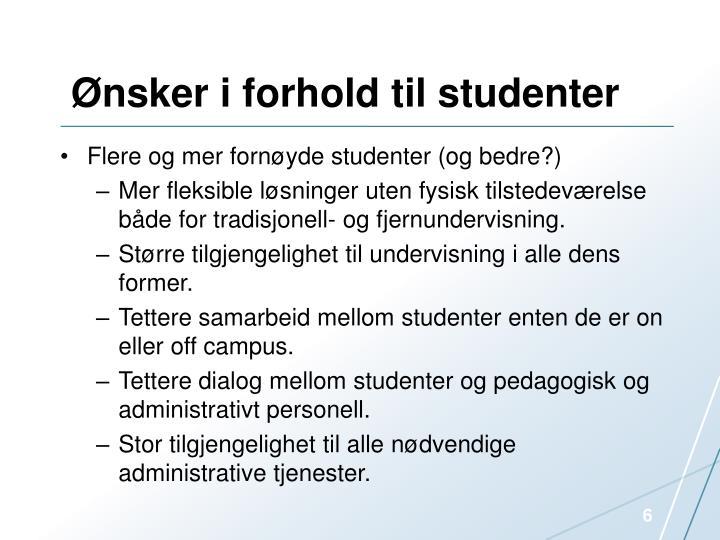 Ønsker i forhold til studenter