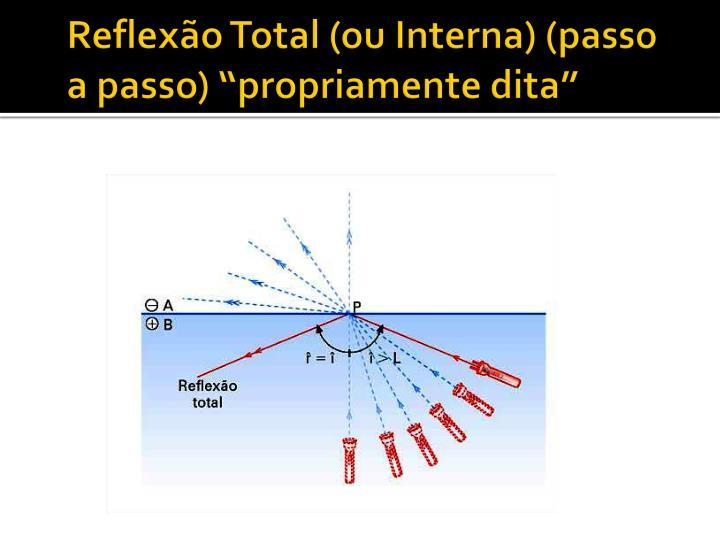 """Reflexão Total (ou Interna) (passo a passo) """"propriamente dita"""""""