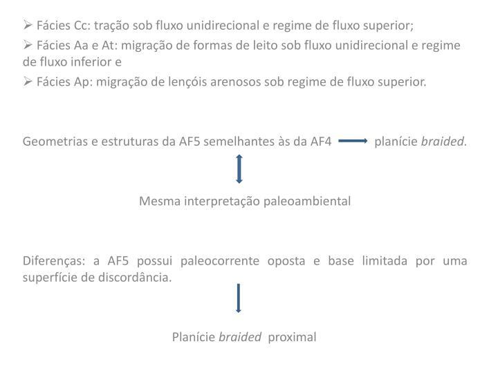Fácies Cc: tração sob fluxo unidirecional e regime de fluxo superior;