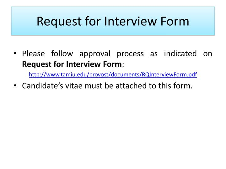 Request for Interview Form