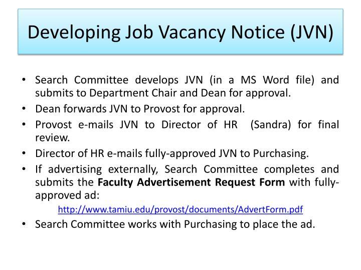 Developing Job Vacancy Notice (JVN)