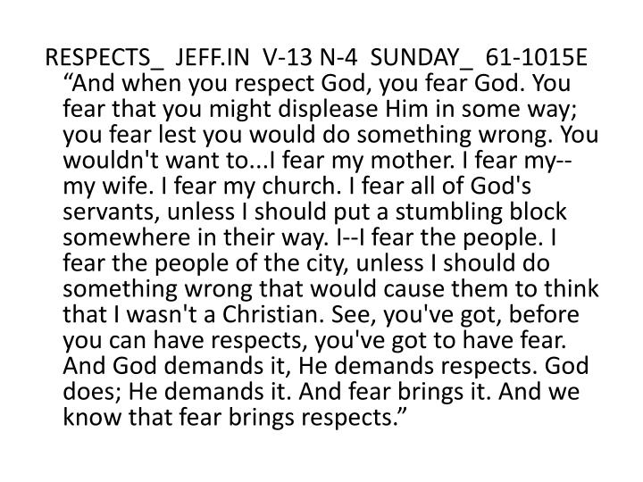 RESPECTS_  JEFF.IN  V-13 N-4  SUNDAY_  61-1015E