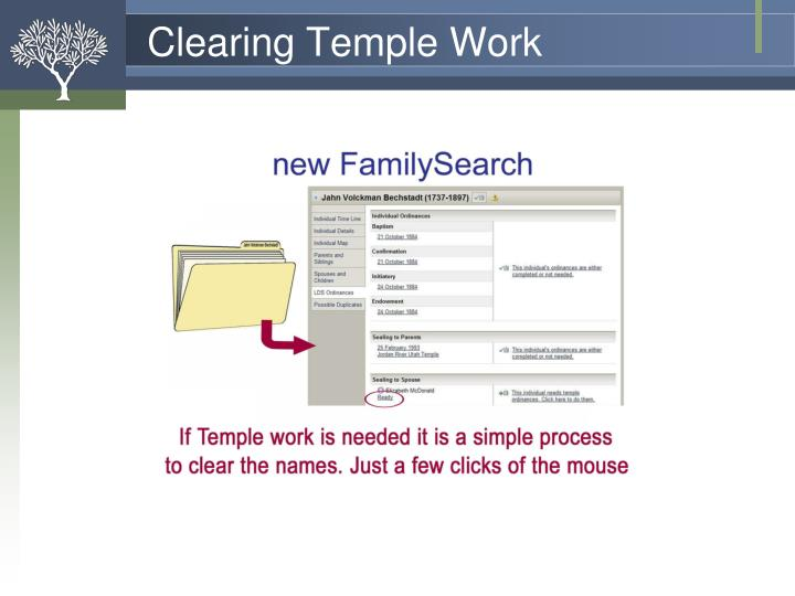 Clearing Temple Work