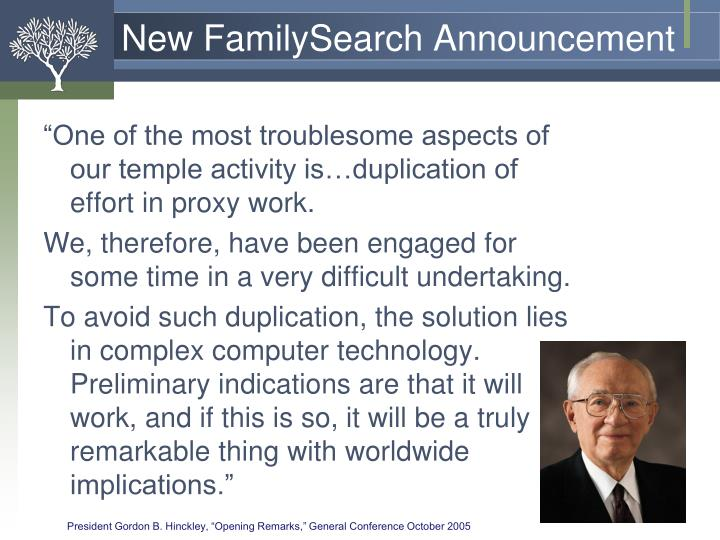 New FamilySearch Announcement