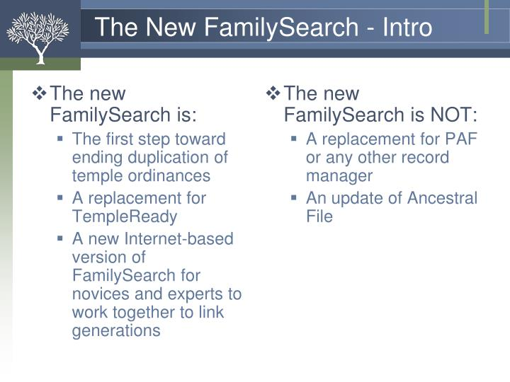 The new FamilySearch is: