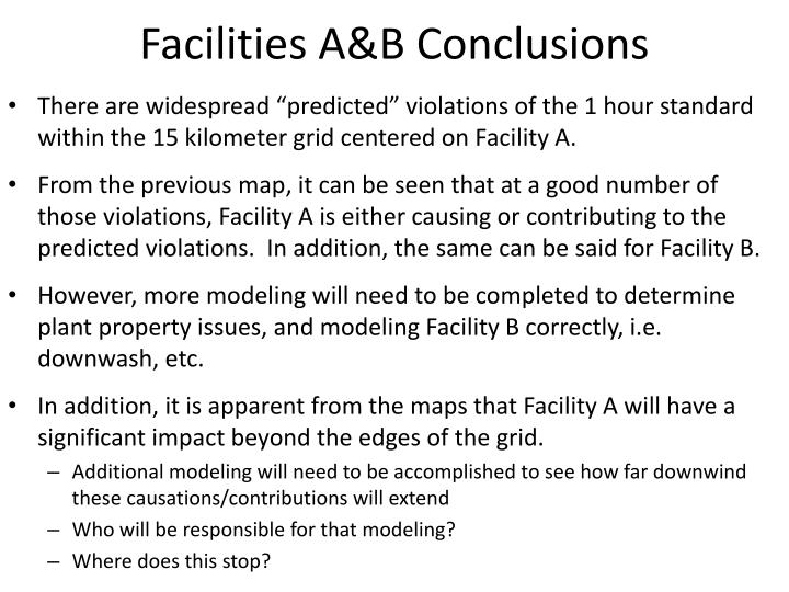 Facilities A&B Conclusions