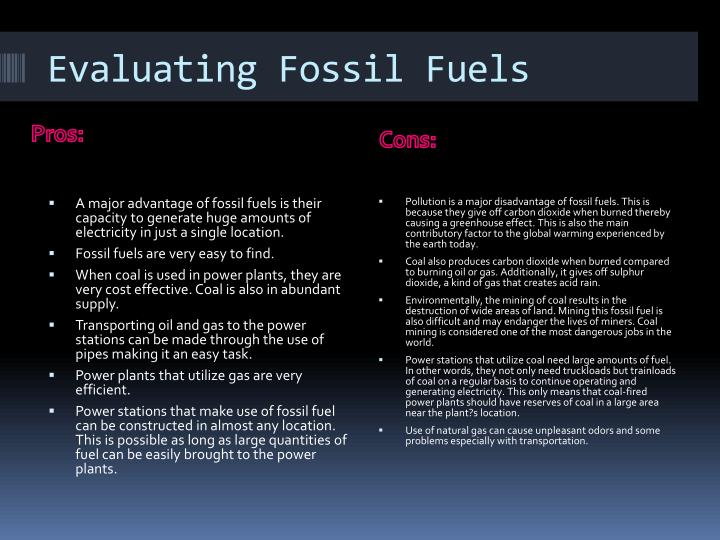 Evaluating Fossil Fuels
