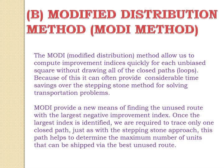 (B) MODIFIED DISTRIBUTION METHOD (MODI METHOD)