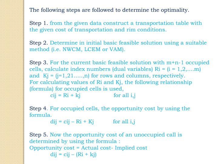 The following steps are followed to determine the optimality.