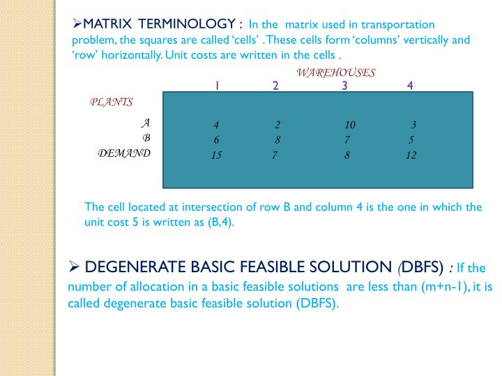 MATRIX  TERMINOLOGY :