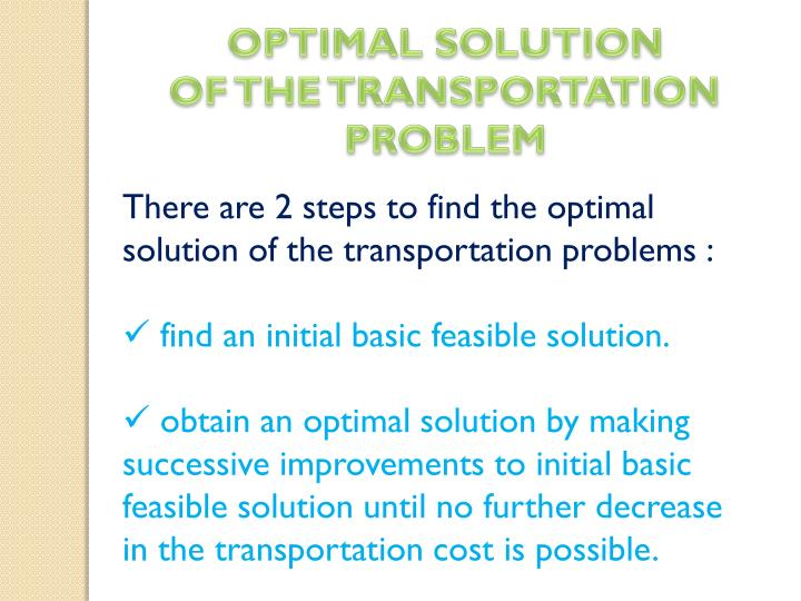 OPTIMAL SOLUTION