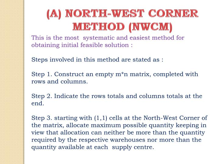 (A) NORTH-WEST CORNER METHOD (NWCM)