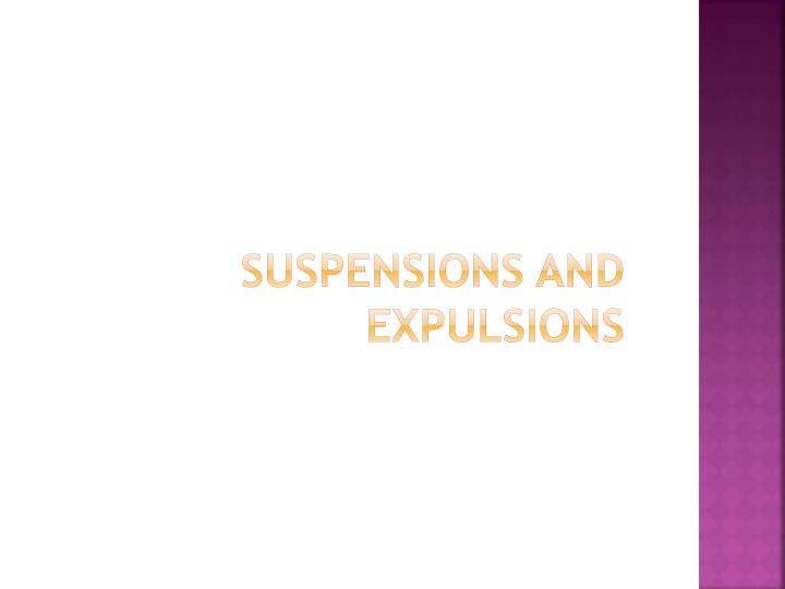 Suspensions and Expulsions