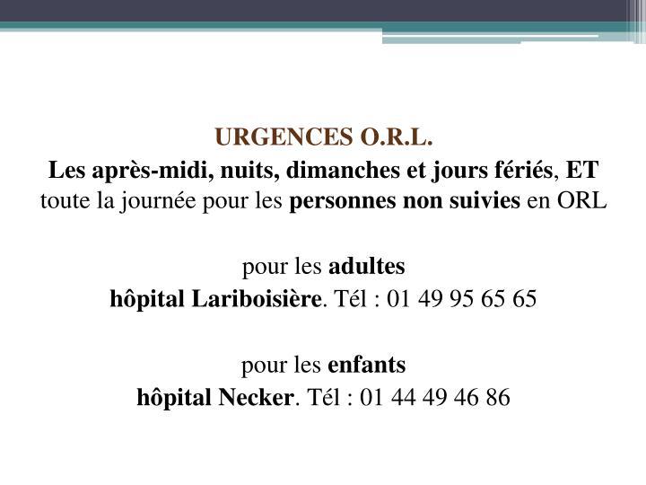URGENCES O.R.L.