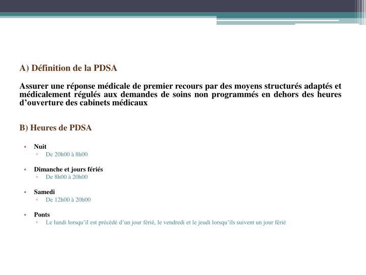 A) Définition de la PDSA