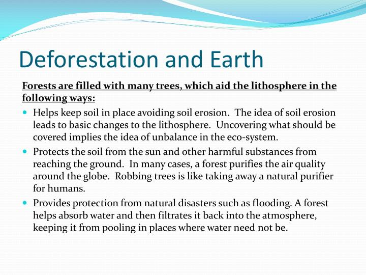 Deforestation and Earth