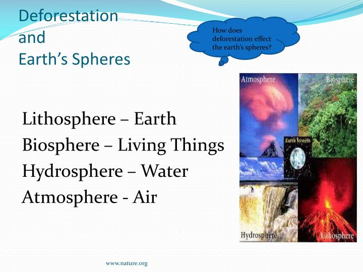 How does deforestation effect the earth's spheres?