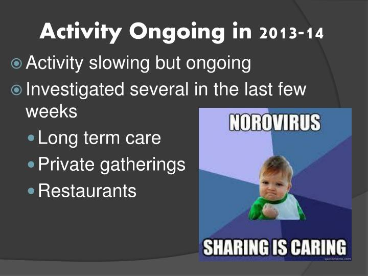 Activity Ongoing in 2013-14