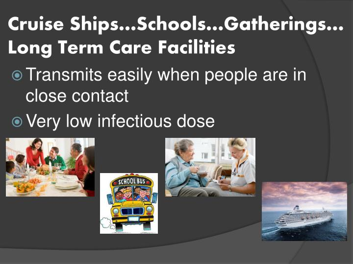 Cruise Ships…Schools…Gatherings…