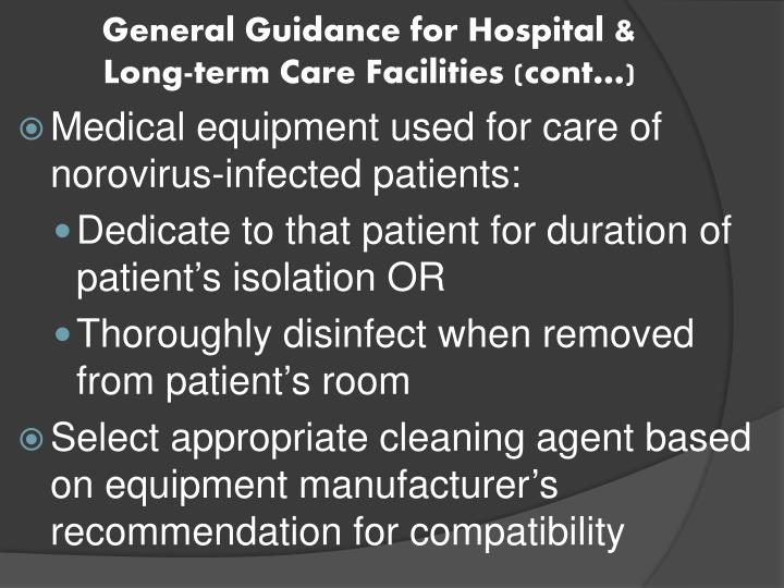 General Guidance for Hospital & Long-term Care Facilities (