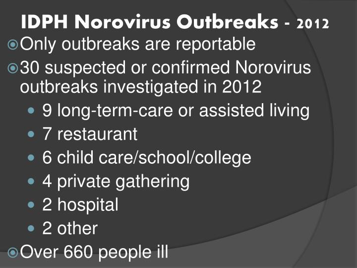 IDPH Norovirus Outbreaks - 2012