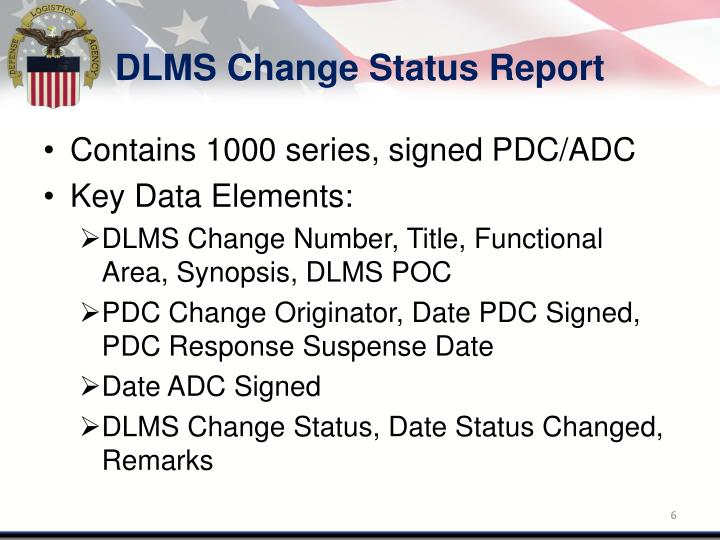 DLMS Change Status Report