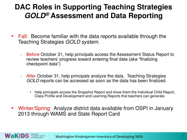 DAC Roles in Supporting Teaching Strategies
