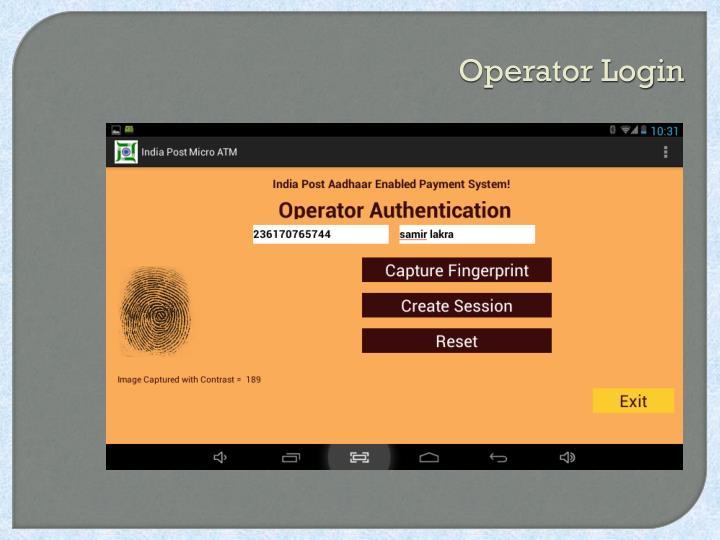 Operator Login