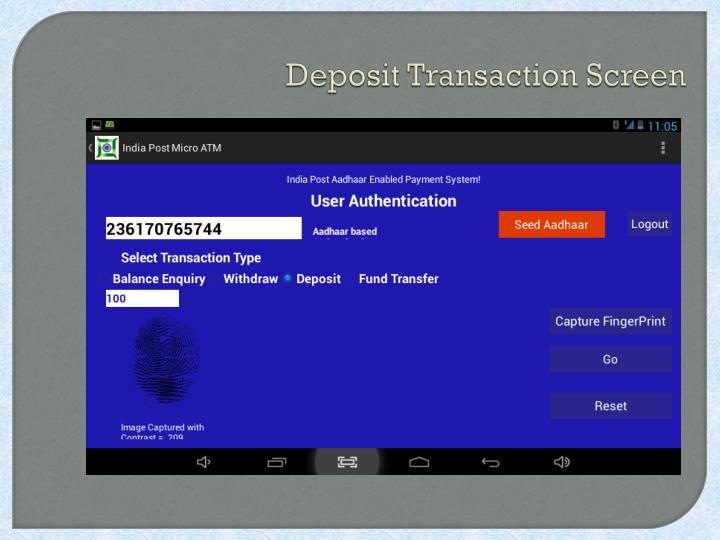 Deposit Transaction Screen