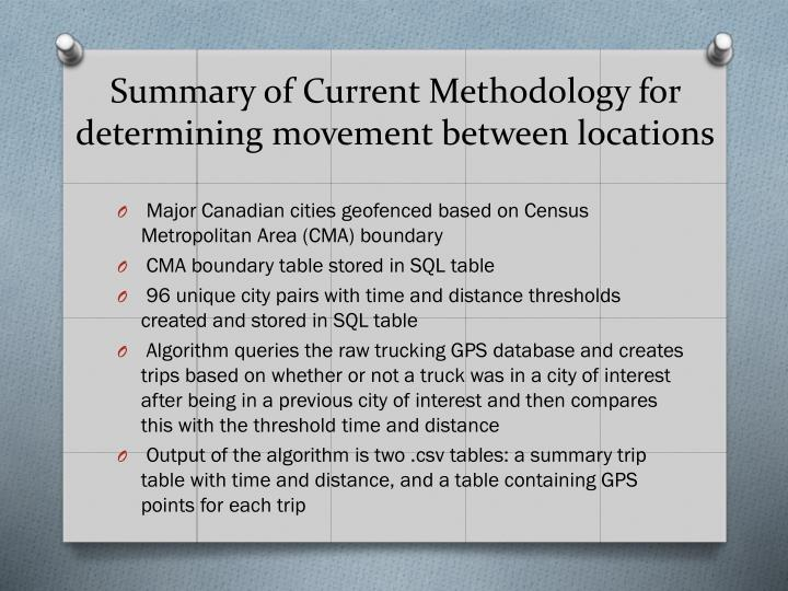 Summary of Current Methodology for determining movement between locations